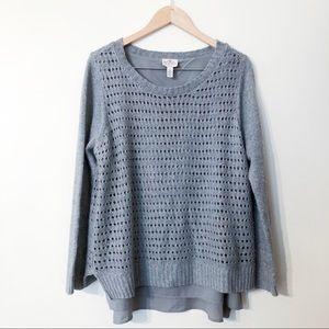 st. john's bay | grey sweater knit overlay large